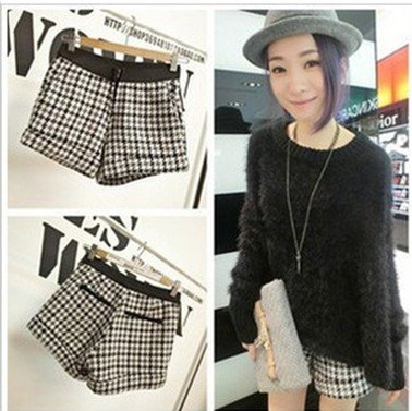 Retro Plaid Women Shorts Spring/Autumn S to L Imitate Pockets Elasticity Waist Hot Pants Zipper Short Fashion Cloth Europe Style