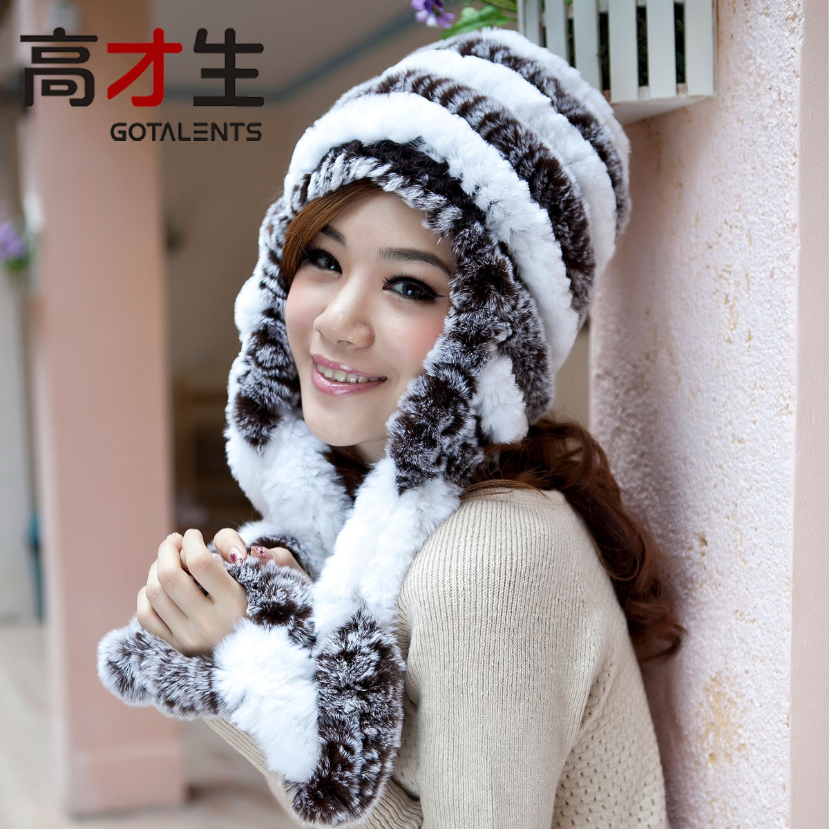 Rex rabbit hair fur hat thimbler ear protector cap female rabbit fur hat winter thickening millinery
