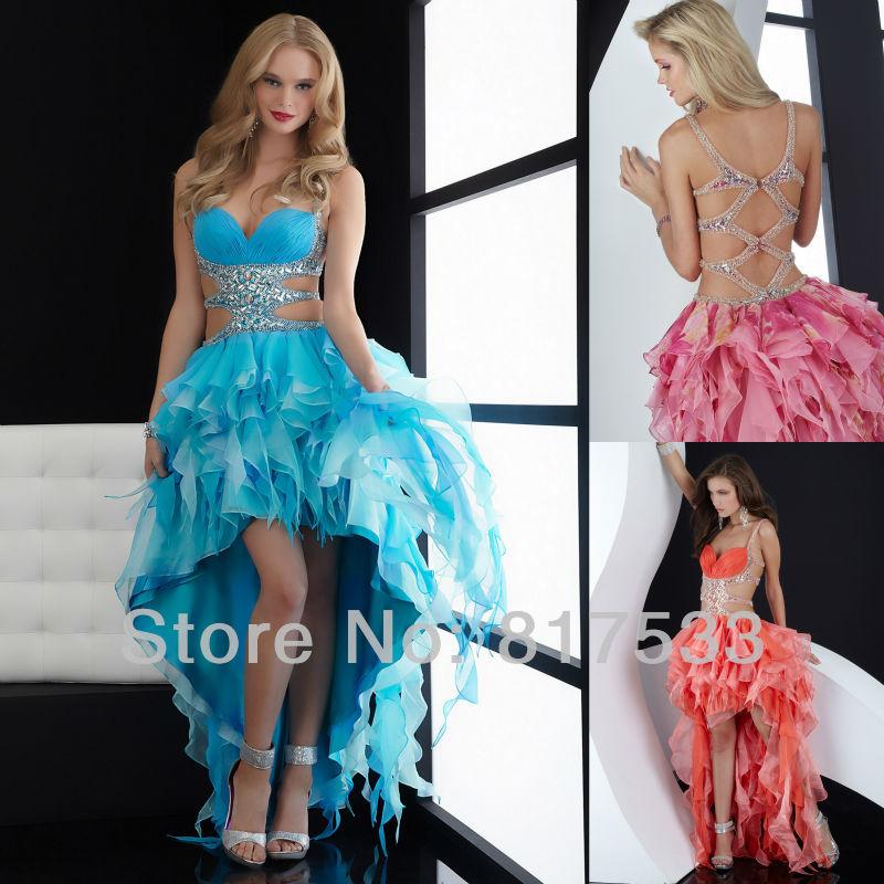 rhinestones prom dresses sexy custom party cocktail dress 2013 new arrival blue hi low orange pink organza sweetheart