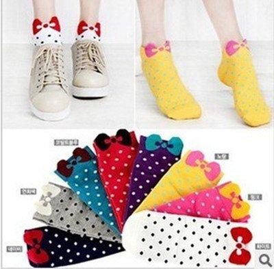 Romantic 2012 feet bow cotton socks / Lace Polka Dot socks / stockings, free shippingy005