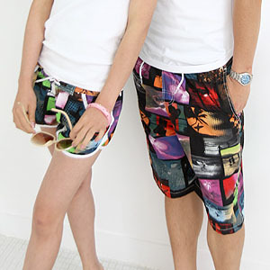 Romantic style couple beach pants