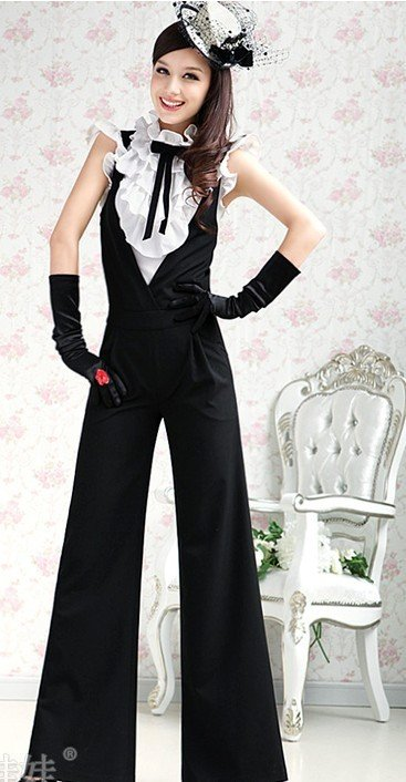 S-L free shipping manufacturers supply new fashion women's black coveralls pants #A0866