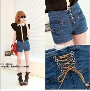 SALE Fashion 00r 2012 buckle high waist back lacing denim shorts Free Shipping
