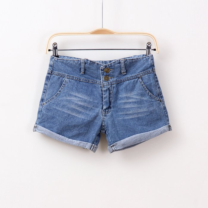 Sally Spring and summer 2012 new arrival women's solid color all-match mid waist roll-up hem denim short trousers shorts