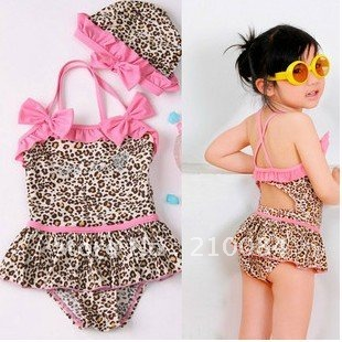 sample girl bikini cover-ups one-pieces Leopard pink bowtie swimwear girls bikini+cap two-pieces/set