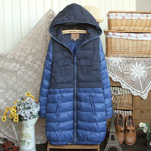 Scite autumn and winter with a hood maternity clothing maternity long design thickening wadded jacket outerwear winter