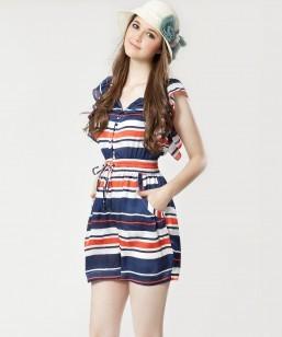 Selena 2013 Fashion Style Women Silk Weet Striped Jumpsuit,Free Shipping Ladies Casual Outwear