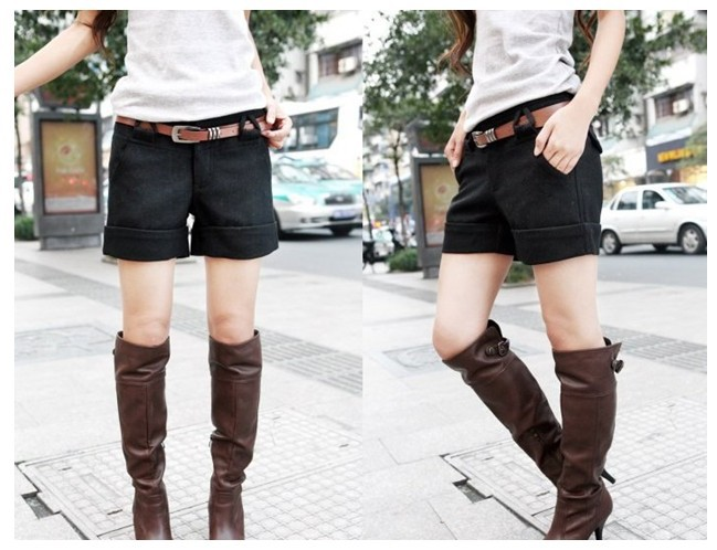 Send Belt Free Shipping Two Colors Autumn Winter Women's Wool  Straight  Plus Large Casual Shorts S-XL