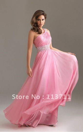 Sensual Looking New Style A-line One Shoulder Chiffon hot pink prom dresses 2013