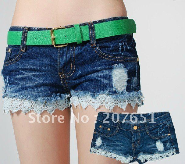 Sex fringed frayed lace stitching jeans short shorts size 26-31 Promotion sell