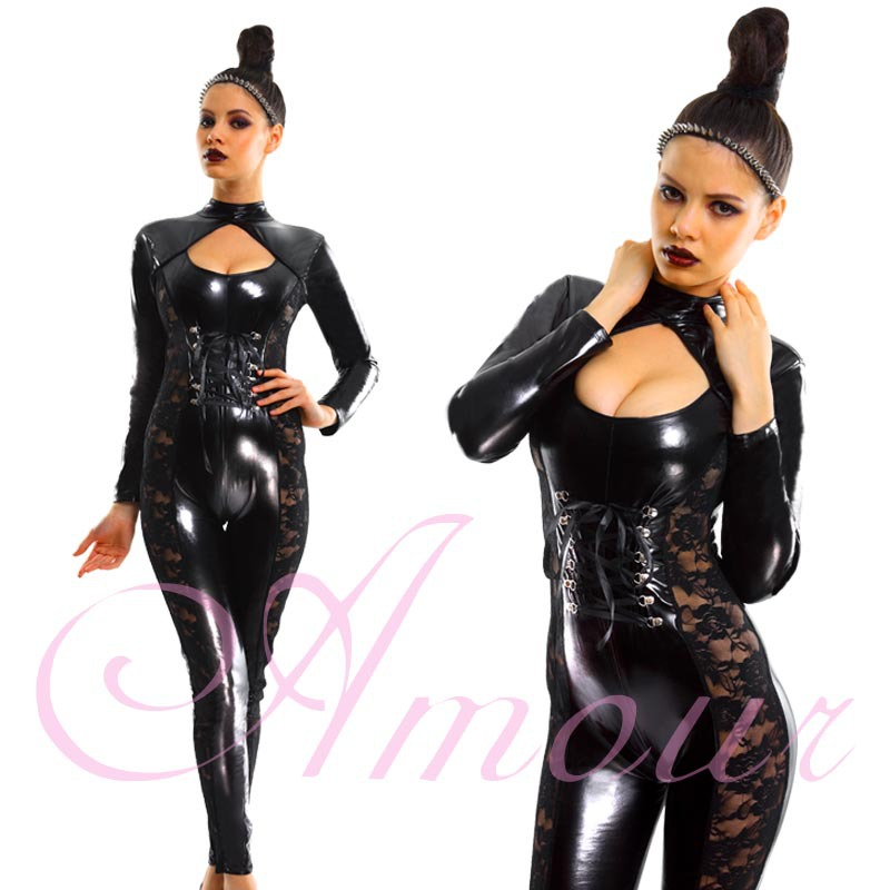 Sexy Black Gothic Punk Fetish Catsuit BDSM Lace Trimmed Romper Clubwear Free Shipping @P764