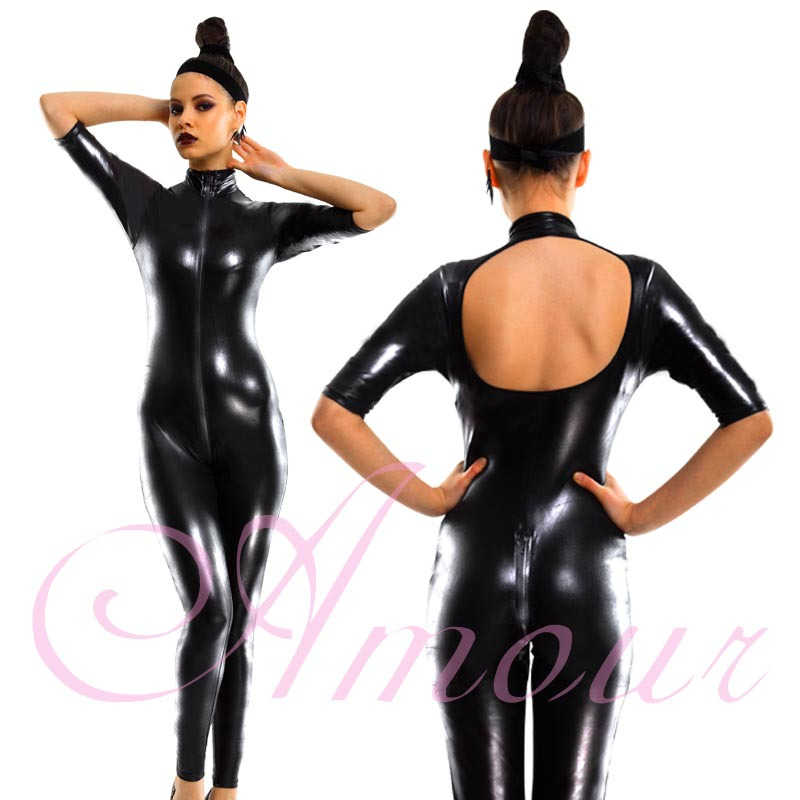 Sexy Black Gothic Punk Wetlook Zipper to Crotch Open Back Catsuit Romper Free Shipping @P7000