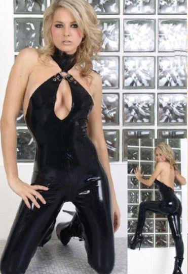 Sexy Blk Gothic Punk Vinyl PU Wetlook Catsuit Teddy Club Dress Free Shipping @P754