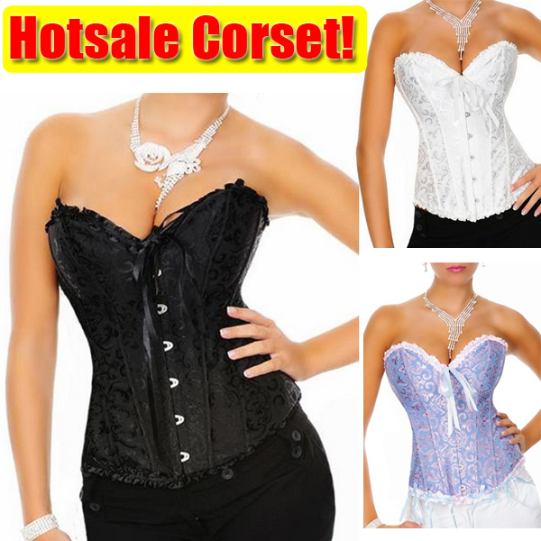 Sexy Corset Women Bone Black Lace Bustier Overbust Corsets +G string Set Lingerie Free Shipping Dropshipping