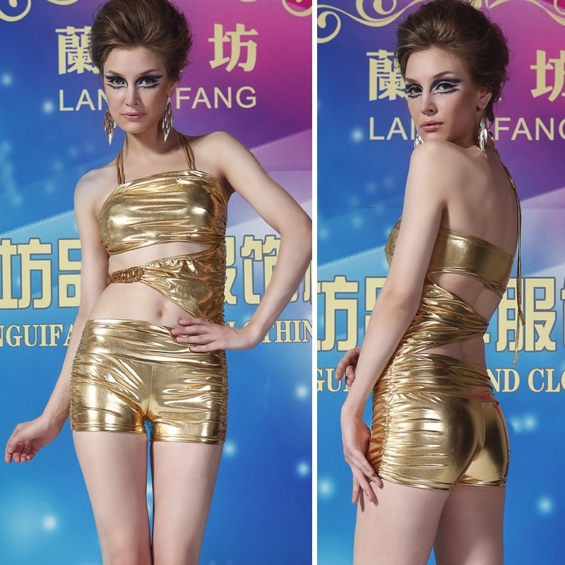 Sexy elastic one piece shorts gold silver jumpsuit fashion 2061