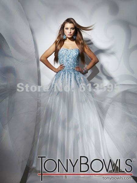 Sexy famous brand Sweetheart A-line Party/prom dress&evening gown White Organza with Blue beading free shipping