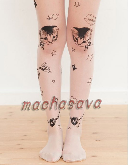 Sexy Fashion Cat Transparent Tattoo Pantyhose Tights Leggings Lace Stockings