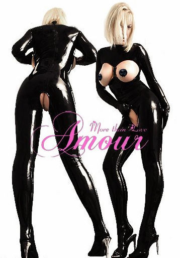 Sexy Gothic Punk Wet Look PVC Like Open Bust Catsuit Jumpersuit Romper /w attached stockings Free Shipping @p7052