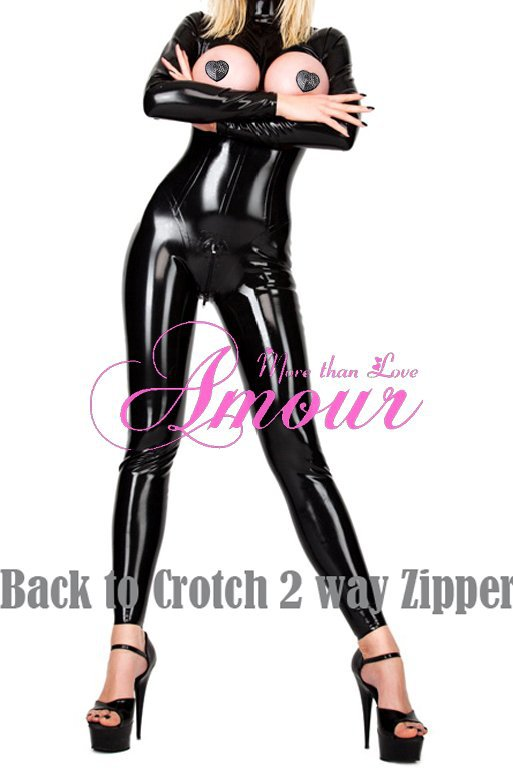 Sexy Gothic Punk Zipper Back to Front Wetlook Open Bust Overall Catsuit Romper Free Shipping @P7058