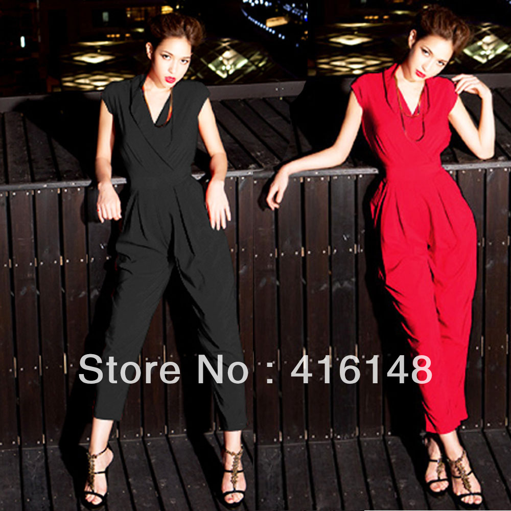 Sexy high street Summer Women Cap Sleeve Jumpsuit Rompers Long Pants Trousers 2 colors free shipping