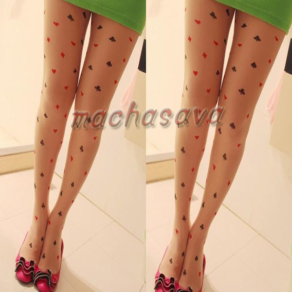 Sexy Lady's Black&red Poker Tights Leggings Stockings Transparent Tattoo Pantyhose