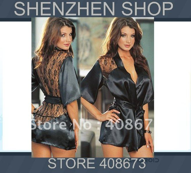 sexy lingerie/costumes/underwear Pajamas Sleepwear Robe Lace Detail and G-String Black Satin
