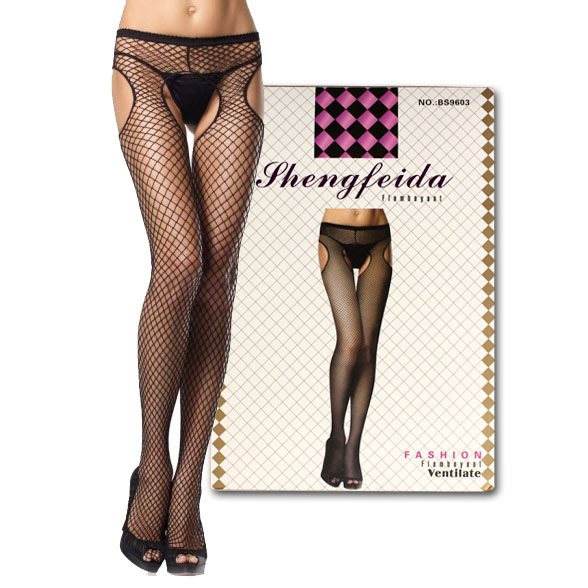 sexy lingerie Sexy Women Sheer Lace Fishnet Halter Stocking Crotchless socks open Crotch 21-3