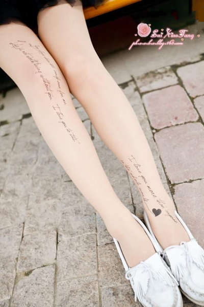 Sexy Love Letters Tattoo Socks Transparent Pantyhose Stockings Tights Leggings FREE SHIPPING