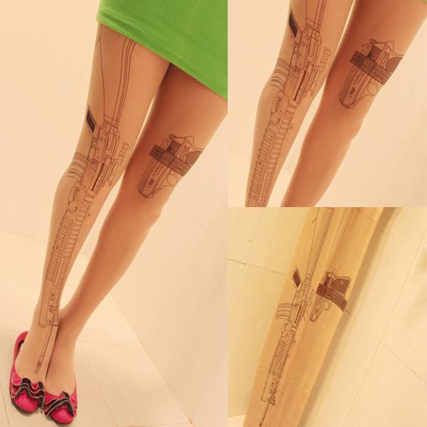Sexy Machine Gun Tattoo Socks Transparent Pantyhose Stockings Tights Leggings