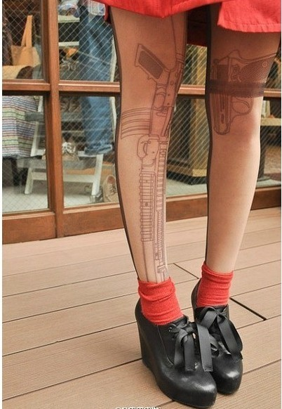 Sexy Machine Gun Tattoo Socks Transparent Pantyhose Stockings Tights Leggings