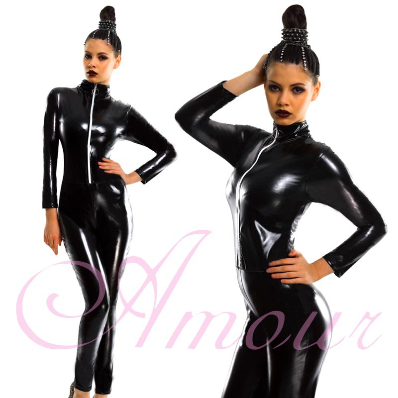 Sexy Overall Catsuit Costume Blk Goth Fetish Zipper Front Club Romper Free Shipping @P7030