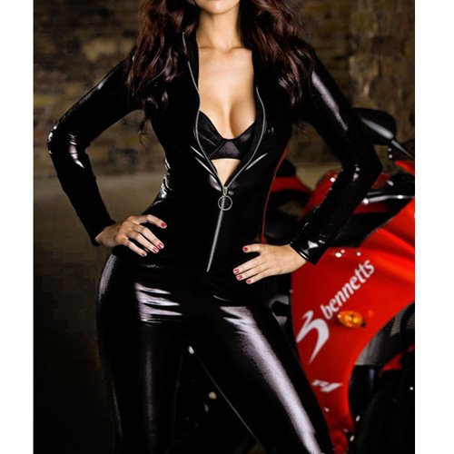 Sexy Paillette Leather Front Zipper Clubwear Bodysuit Cool Zip Catsuit Lingeries Jumpsuits Rompers WJR01