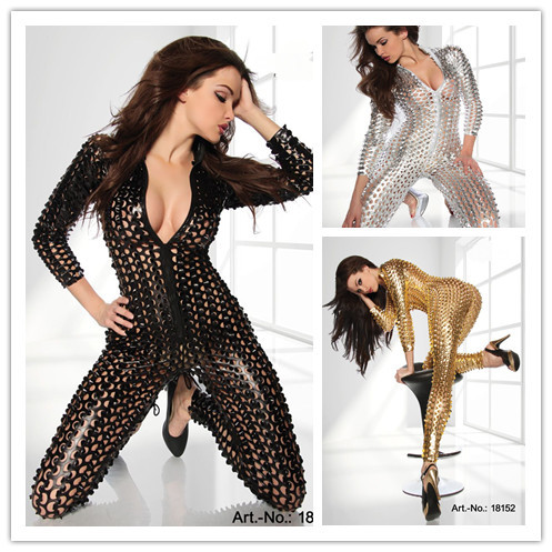 Sexy Punk Silver/Gold/Black Metallic 3D Intricately crafted Overall Catsuit jumpsuit Fetishwear Free Shipping @P7117