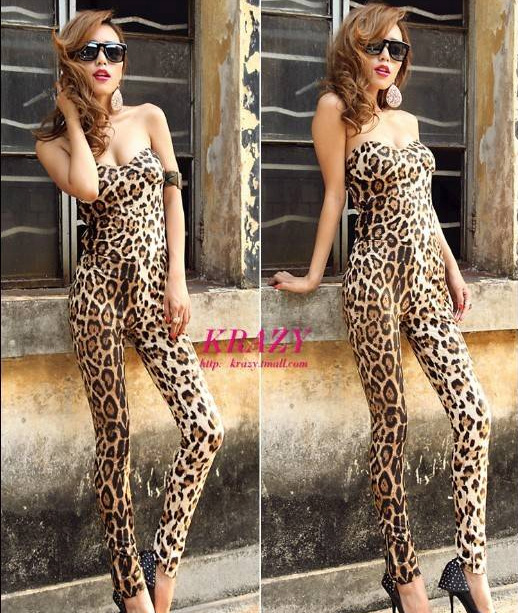 Sexy Punk Unique Leopard Shakers Pattern Padded All-in-one Overalls Women Pants
