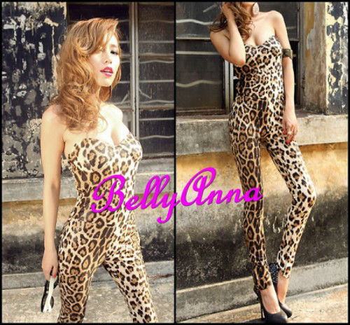 Sexy Snake Skin Animal Pattern Padded Tight Jumpsuit/Romper/Playsuit Clubwear Free Shipping Wholesale
