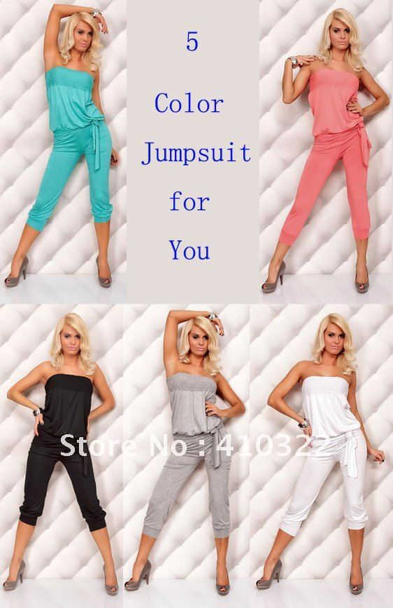 Sexy Strapless Casual Pleated Jumpsuits Women Graceful Union Suits Fancy Stretch Spandex in Black Green White Gray Pink S1338