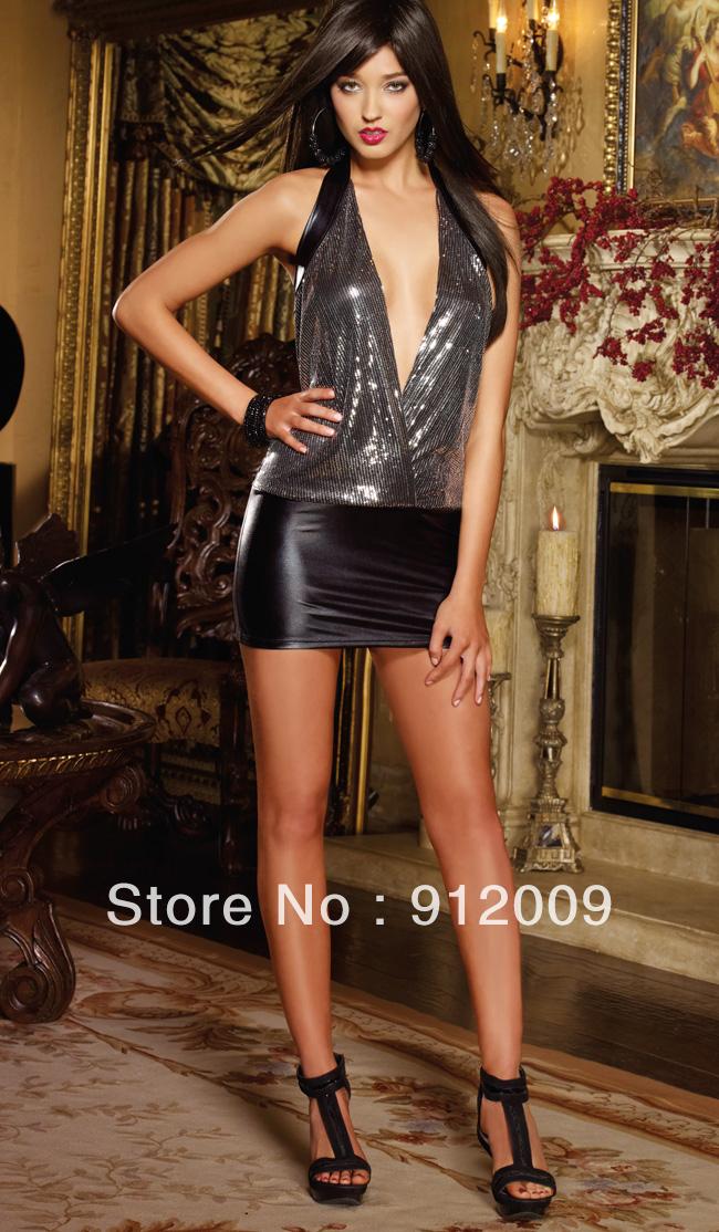Sexy tight black stitching perfect fashion skirt