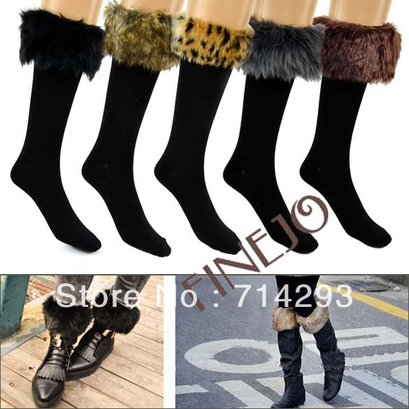 Sexy Warm Cotton Socks On Faux Fur Cover Half Long Stockings Fit Boots Cheap Socks Free shipping 9262