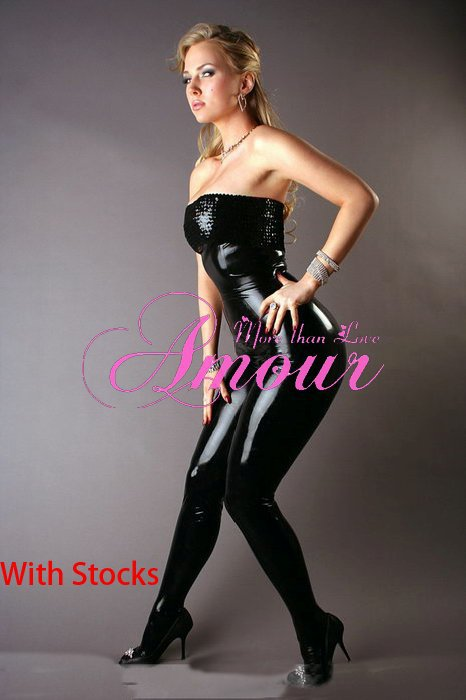 Sexy Wetlook Gothic Punk Pailletted Strapless Overall Catsuit Romper Free Shipping @P7083