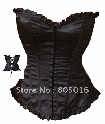 Sexy  Women Boned Overbust Corset Bustier Costume Lingerie  + G-string Black Simple Style
