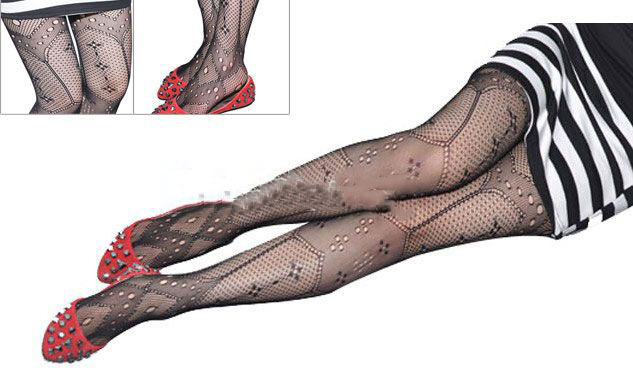 Sexy Women Fishnet Net Pattern Jacquard Pantyhose Stockings Tights Black Color