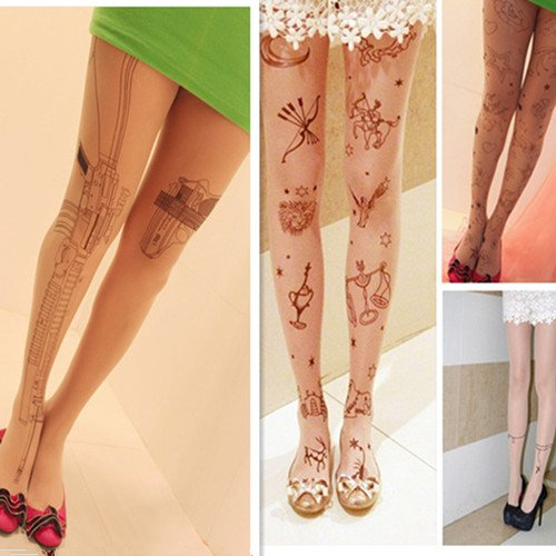 Sexy Women Gun Cat Tattoo Pattern Transparent Pantyhose Stockings Tights Legging[040246]