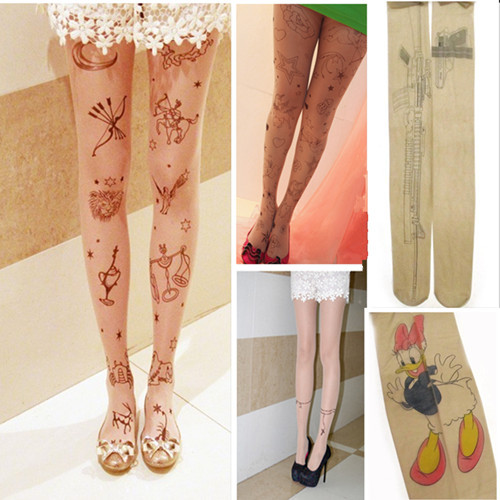 Sexy Women Gun Cat Tattoo Pattern Transparent Pantyhose Stockings Tights Legging[040246]