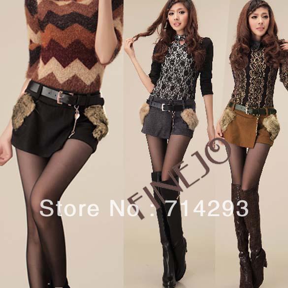 Sexy Women's Fur Pocket Zippered Woolen Short Pants Pantskirt Shorts Skirts Winter M L XL free shipping 9325