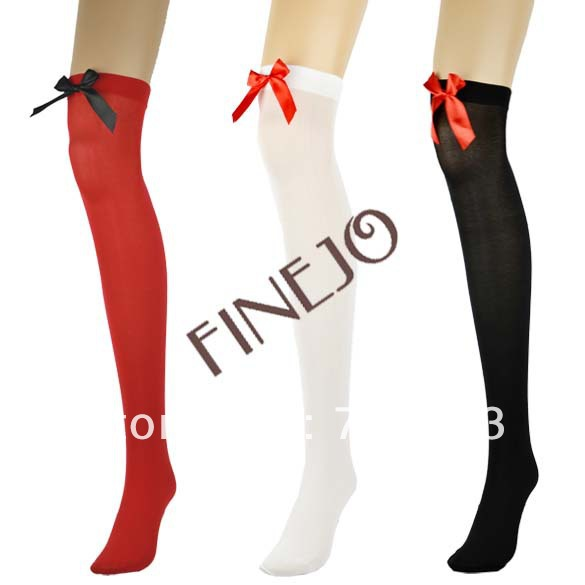 Sexy Women's Silk Lace Knee Bows Socks Thigh High Stockings 3 Colors Free shipping 8195