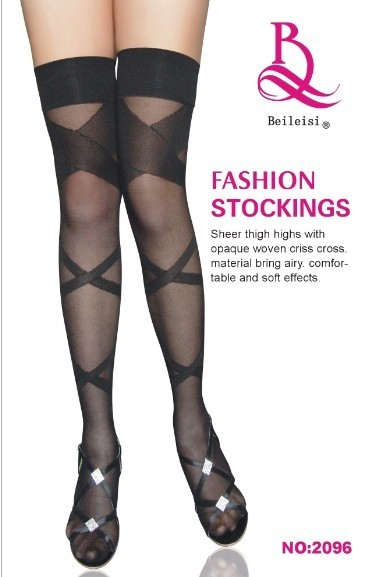 Sexy women's underwear black strip-line decorative pattern transparent stockings 92096