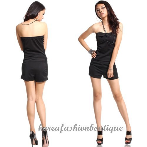 Sexy Womens Fashion Hot Solid Black Rompers Jumpsuits Playsuits Short Pants Sleeveless Backelss Wholesale