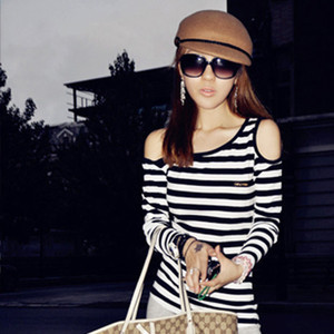 Sexy Womens Long Sleeve Off Shoulder Stripe T Shirt Top Blouse Club Party FZ469
