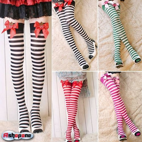 Sexy Womens Striped Strawberry Bow Thigh High Socks Stockings