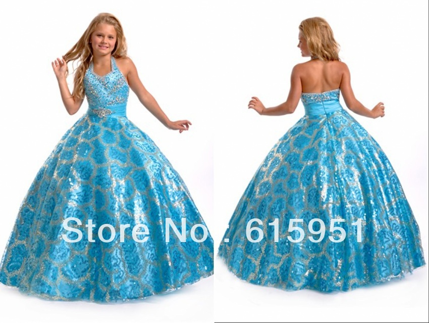 Shinning halter neckline skirt sequin beaded full length ball gown little girls pageant dress JY007